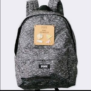 VS PINK mini backpack with pins in grey.